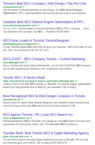 Search results on google for Toronto SEO Company